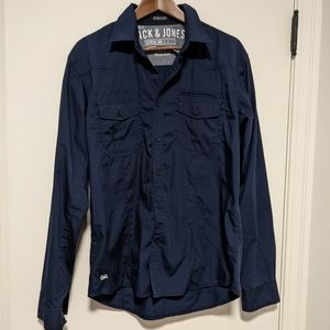 Jack and Jones Navy Core Strength Button Up